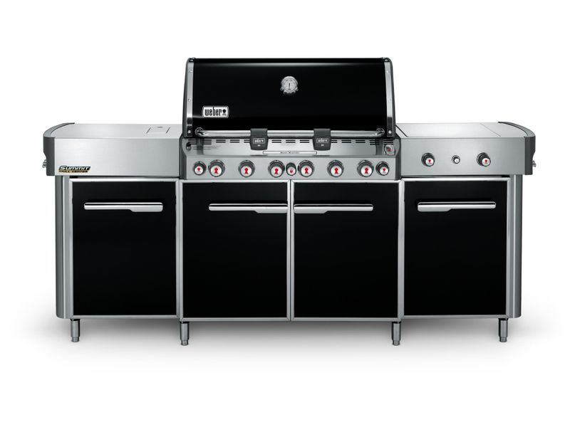 the weber summit grill center boasts six main burners enclosed storage and advanced to complete your backyard barbecue oasis - Weber Summit S 420