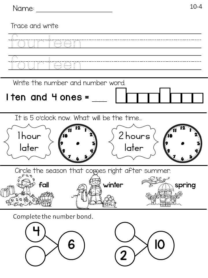 First Grade Math Worksheets Daily Math Morning Work Daily Math