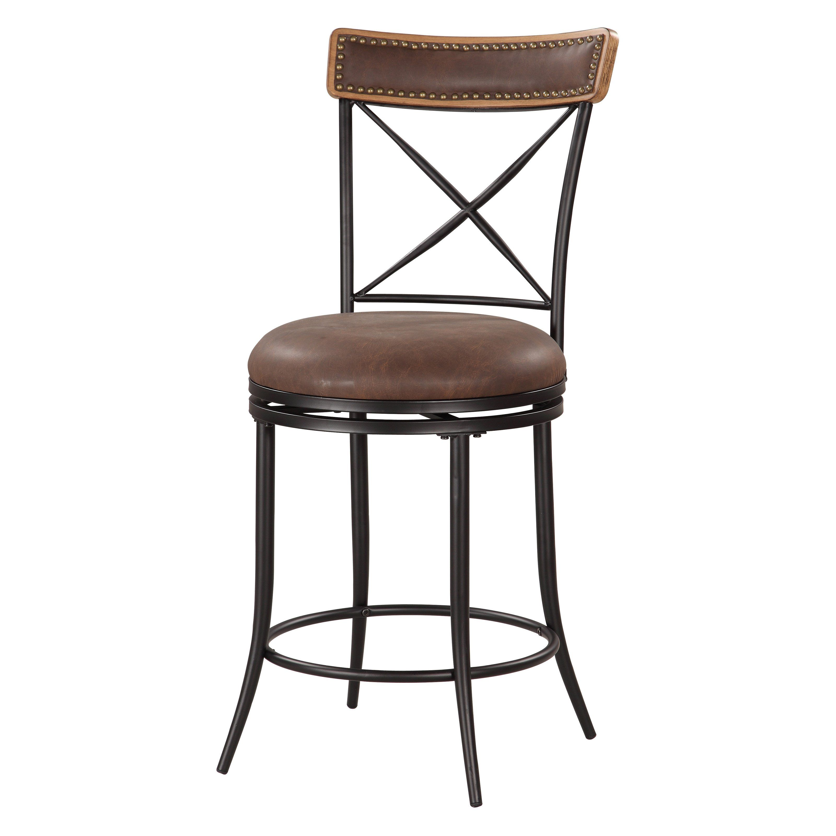 Have To Have It Linon 24 In X Back Metal Swivel Counter Stool