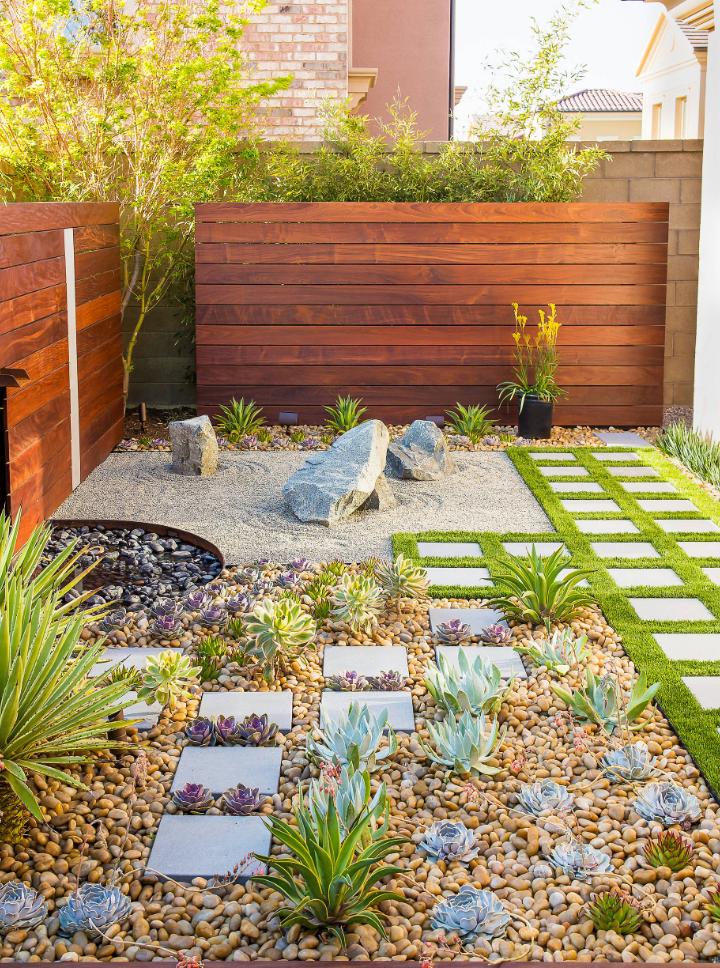 Rock Garden Unique Landscaping Ideas Save Water Small Backyard Gardens Small Backyard Garden Design Backyard Garden Design
