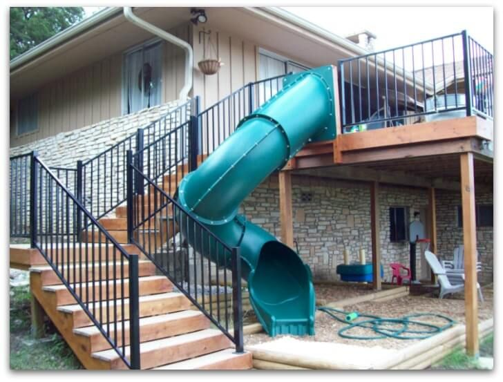 a slide is a great way to add fun and uniqueness to your two story deck plus the kids will love it pretty cool idea if i end up with 2 story deck