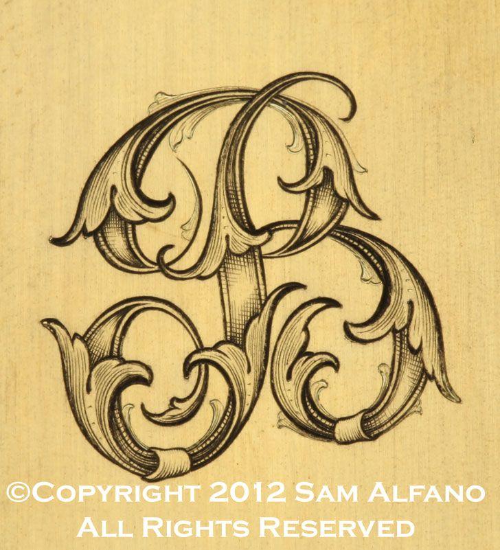 Sam alfano engraver miscellaneous engraving acanthus for Engraving letter templates