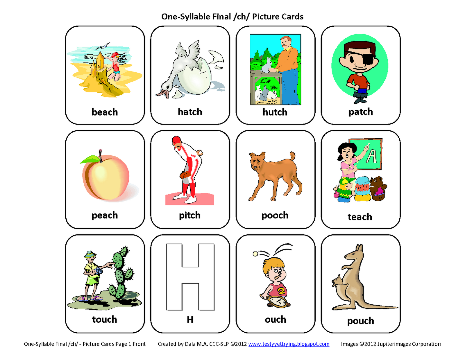 Testy Yet Trying Final Ch Free Speech Therapy Articulation Picture Cards
