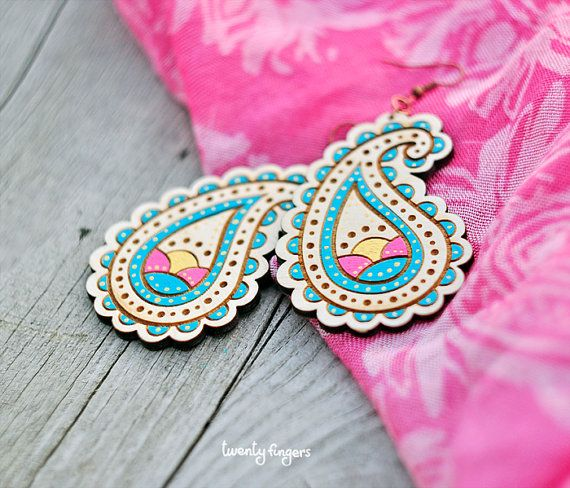 barrettes pendents and more paisley blue Earrings