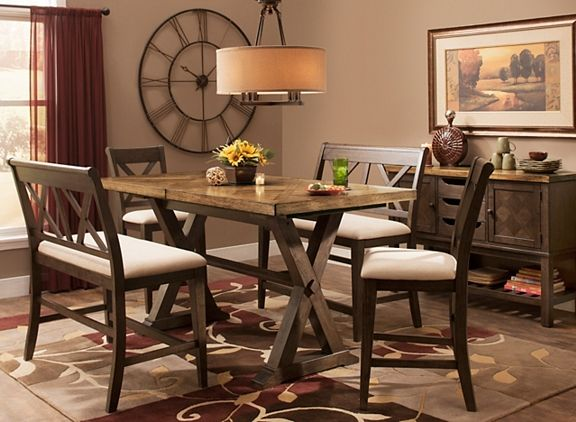 Wexford 5 Pc Counter Height Dining Set W 2 Benches Dining