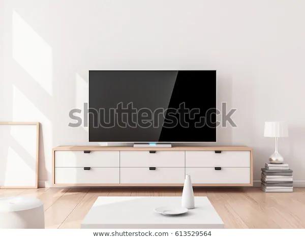 Smart Tv Mockup On Stand Living Stock Illustration 613529564 Stock Illustration Smart Tv Illustration