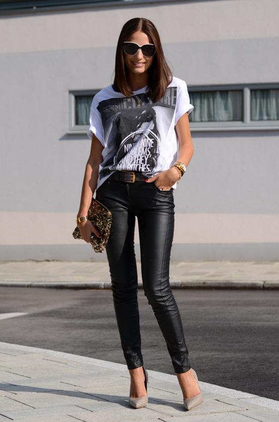 d085d766de8 Casual White T Shirt Black Leather Pants Beige Heels