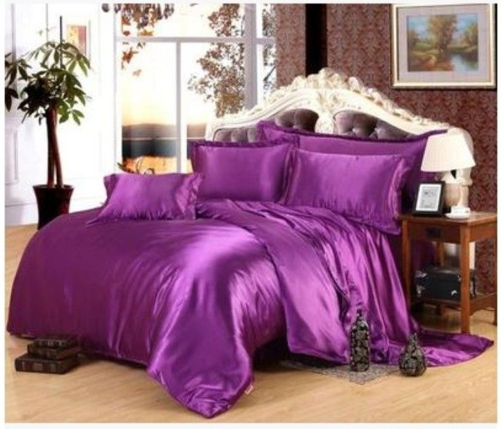 deep purple silk satin bedding set california king size queen full twin quilt duvet cover fitted