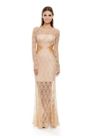 5126d5343 Vestido Longo Bordado Lateral e Renda Nude - roupas-festas-iorane-f-vestido- longo-bordado-lateral-e-renda-nude Iorane