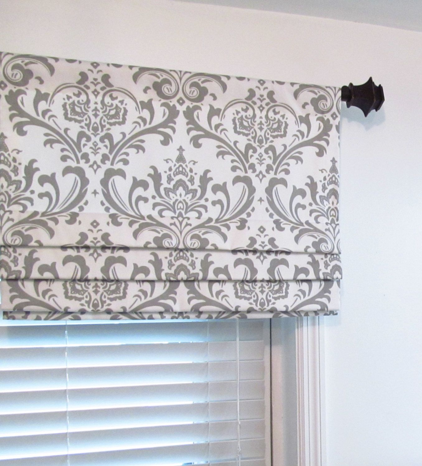 Custom Faux Roman Shade Lined Gray Damask Mock By Supplierofdreams