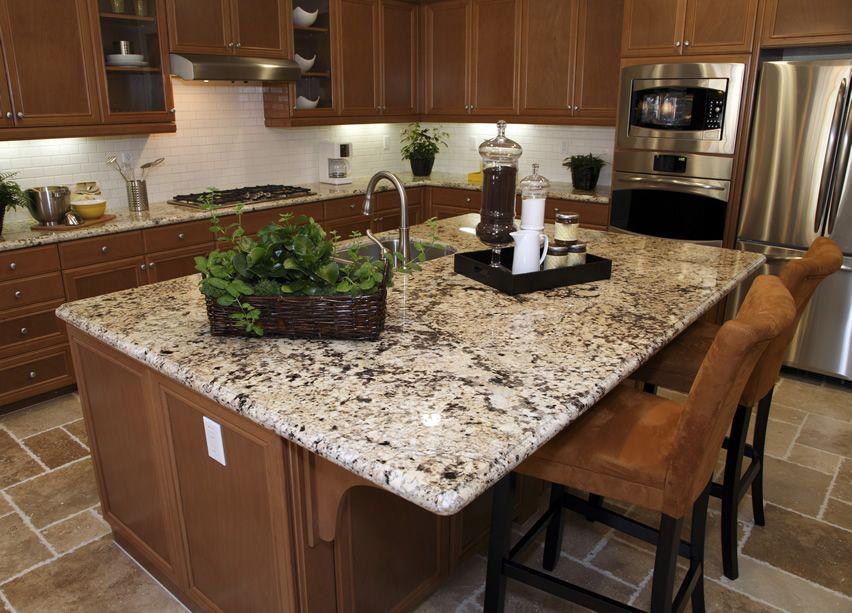 luxury granite kitchen island with beige granite counters and eat in dining - Granite Kitchen Island