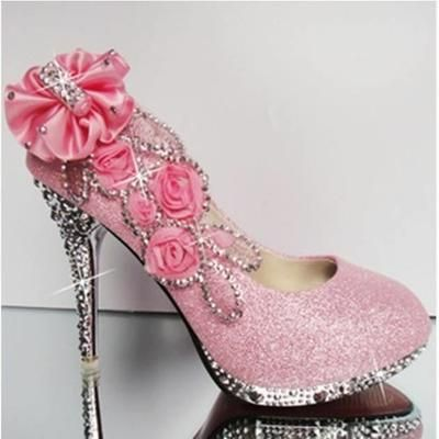 Chaussures à talon escarpin soirée,ville,brillante Rose rose
