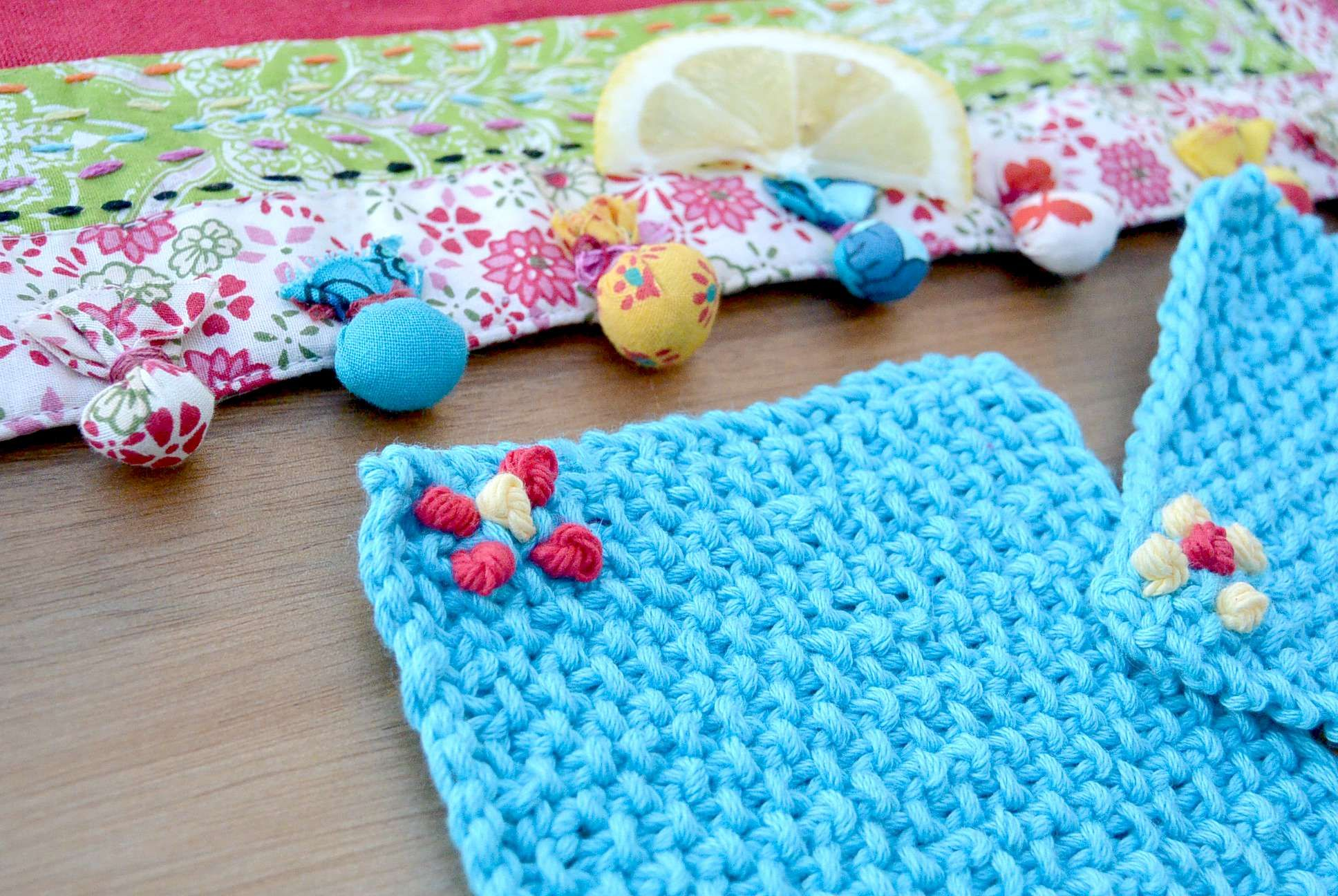 Easy Knit Coasters Seed Stitch Turq Crafts For Some Day