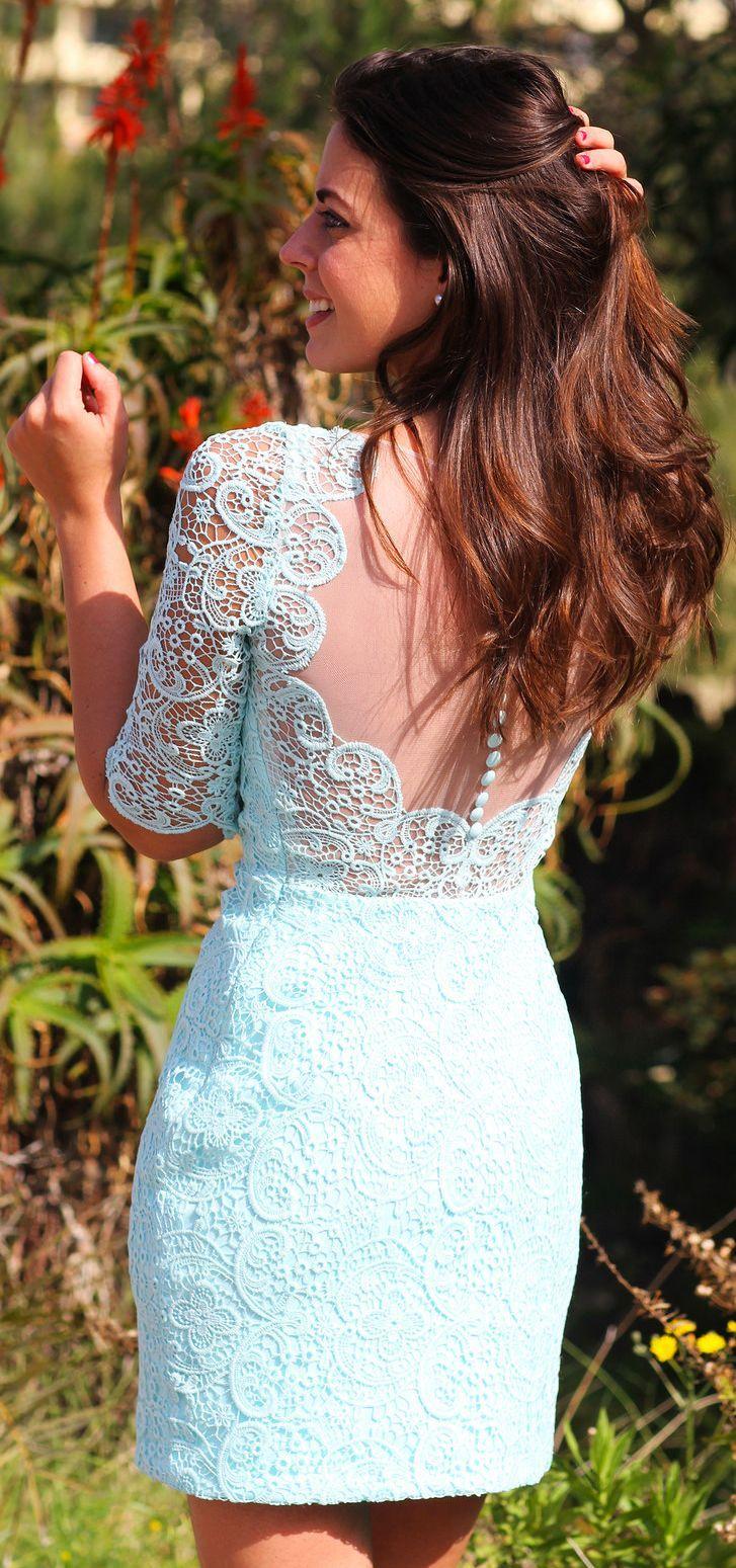 Silvia Navarro Light Blue Backless New Collection Little Dress