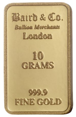Buy Baird 10 Gram Gold Bar Online The 10 Gram Gold Bullion Bar Contains 10g Of Pure Gold And Is Marked With The Pure G Gold Bullion Bars Gold Bullion Gold Bar