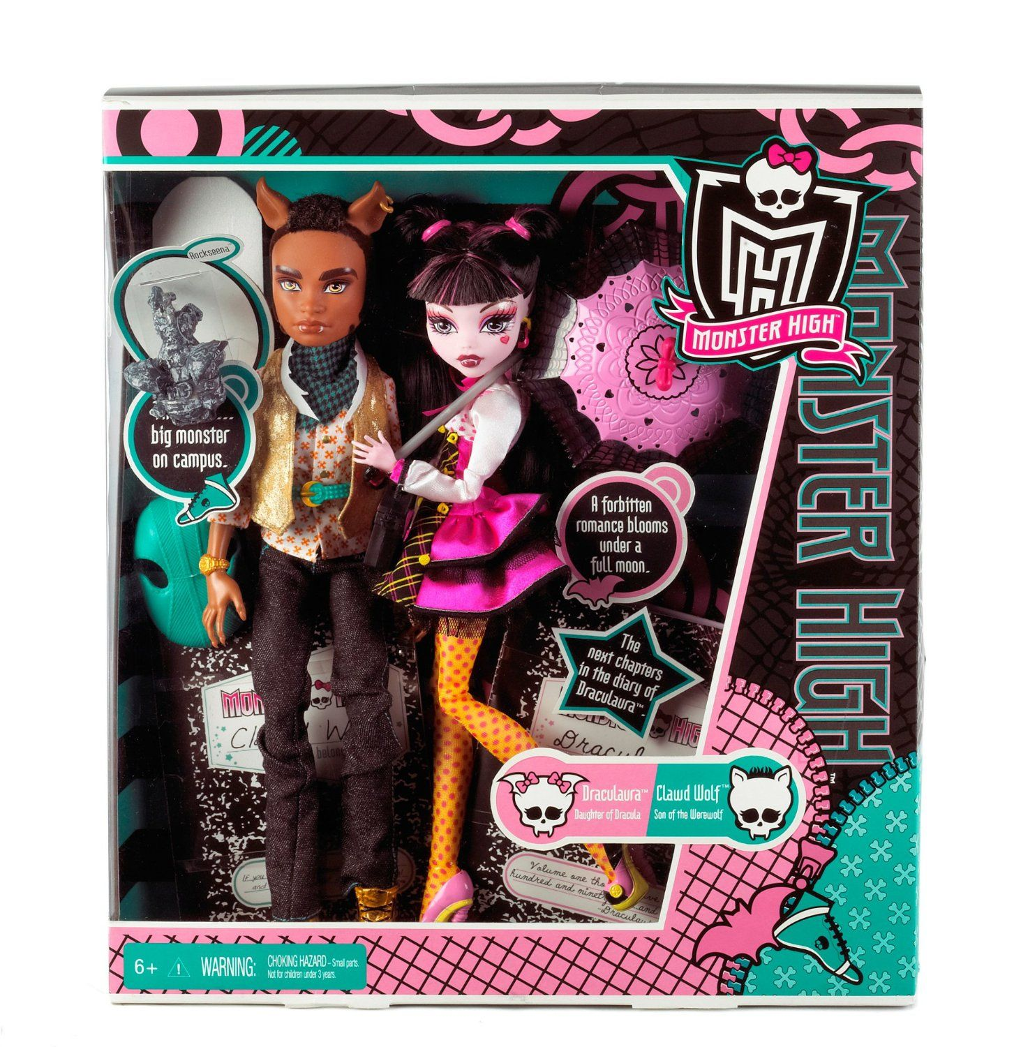 Monster High Draculaura And Clawd Wolf Doll Tset