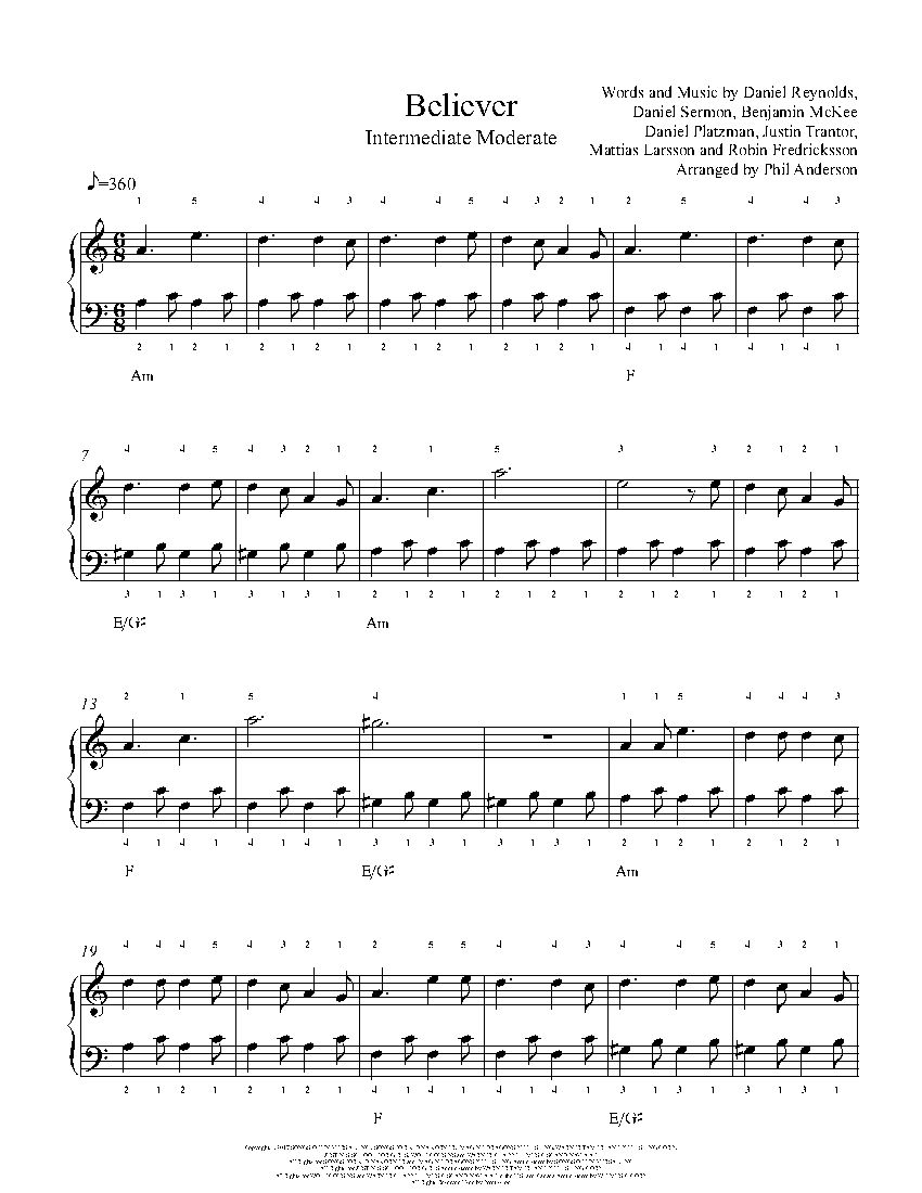 Easy Imagine Piano Sheet Music Free