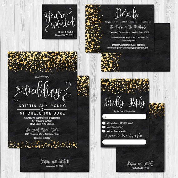 Print Your Own Wedding Invitations Templates: Black And Gold Glitter Dots Wedding Invite Templates