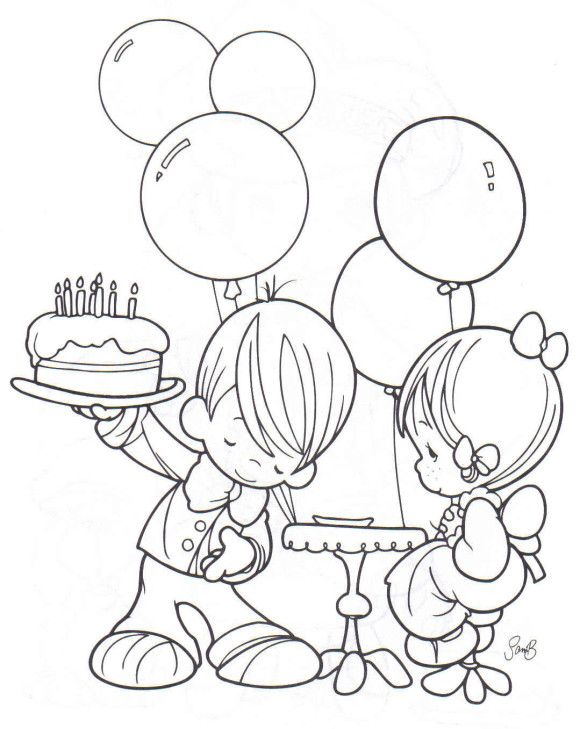 Boy And Girl Free Birthday Coloring Pages | 00 | Pinterest | Free ...