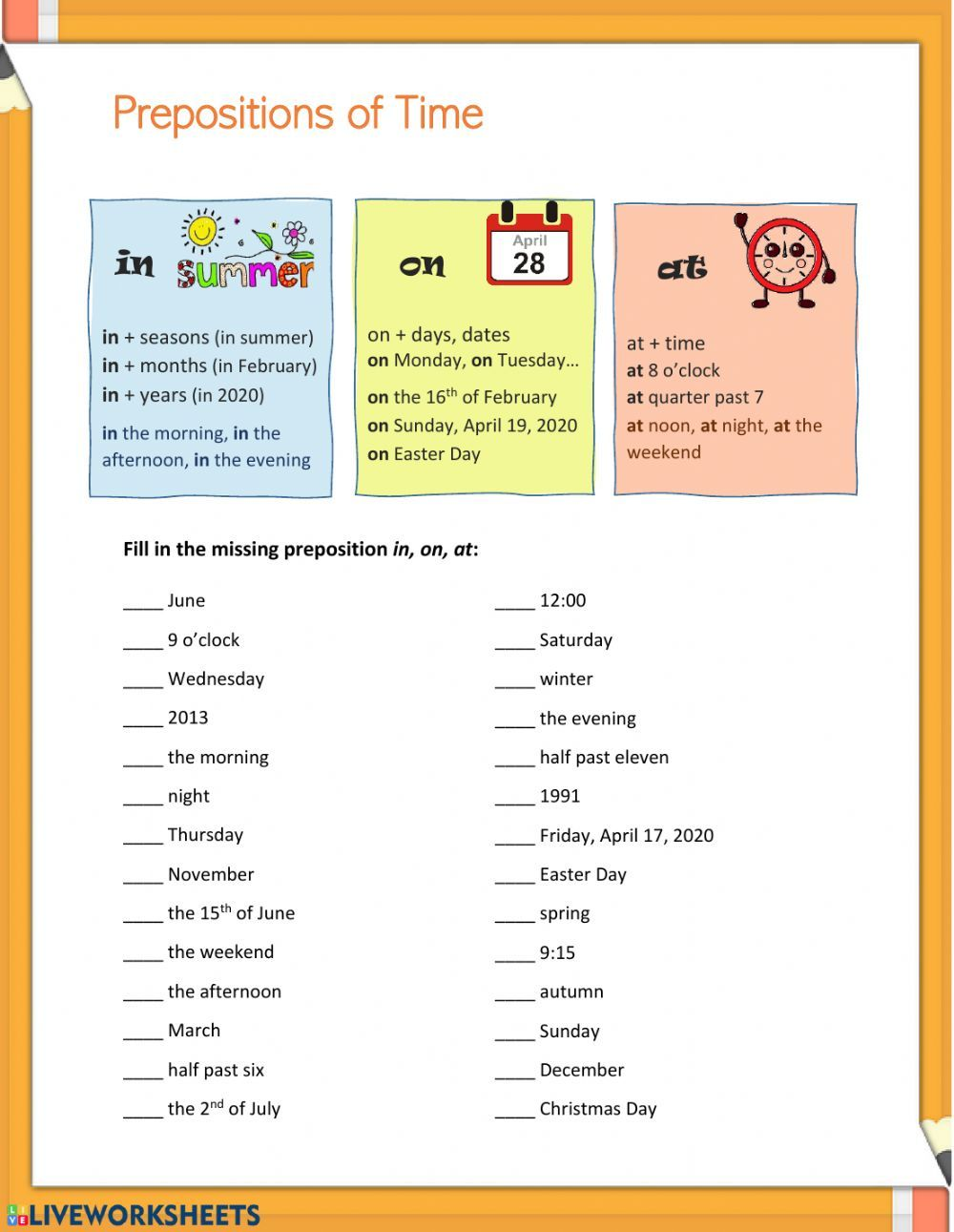 Prepositions In On At Prepositions Of Time Worksheet In 2020 Prepositions Time Worksheets Learn English Words