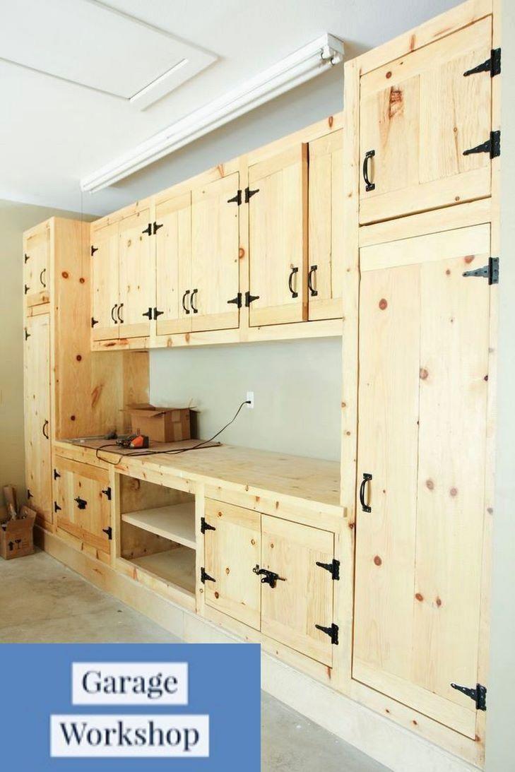 Turn A Two Car Garage Into A Solid Woodworking Shop That Still Holds Cars Diy Garage Storage Garage Storage Cabinets Garage Decor