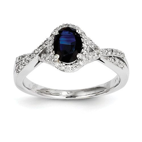 Unique 14K White Diamond and Sapphire Oval Halo by LyonsJewelry