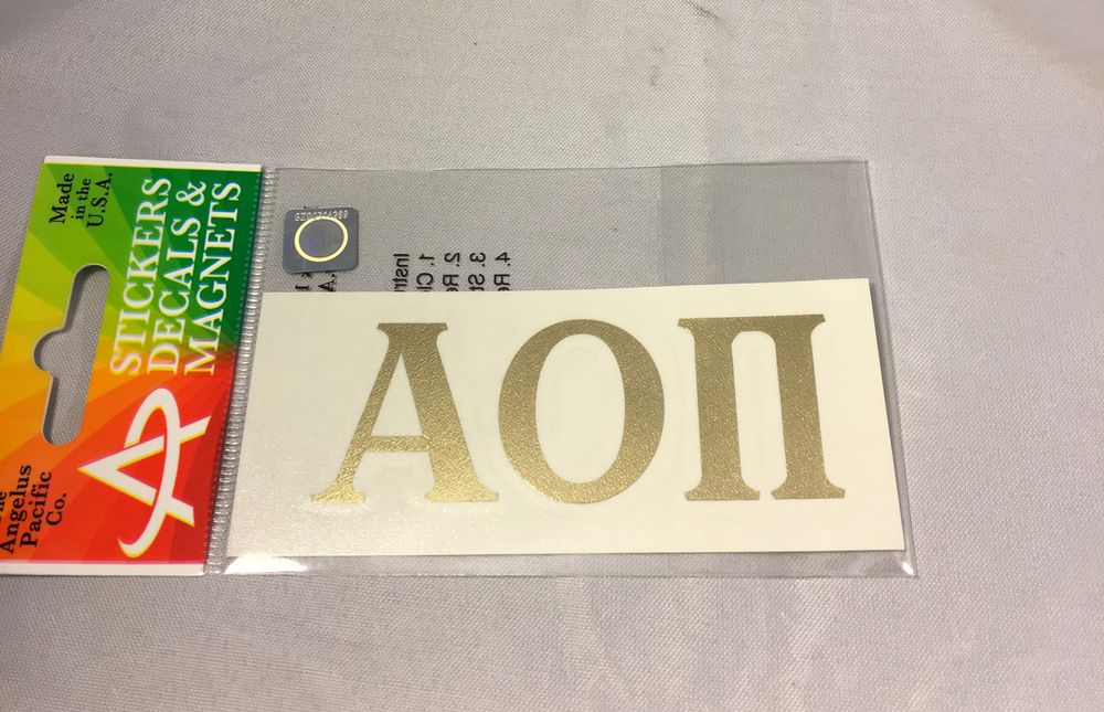 Alpha Omicron Pi Sorority Metallic Gold Letters - Brothers and Sisters' Greek Store