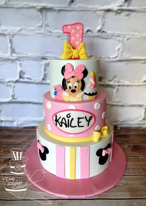 Baby Minnie Mouse first birthday cake Tiny Kitchen Cakes