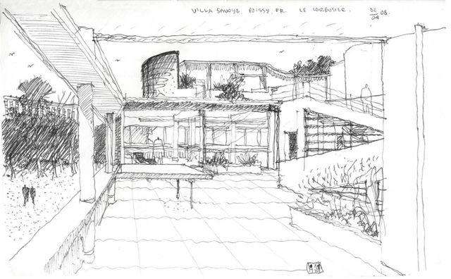 Villa Savoye Le Corbusier Drawing Sketches Pinterest