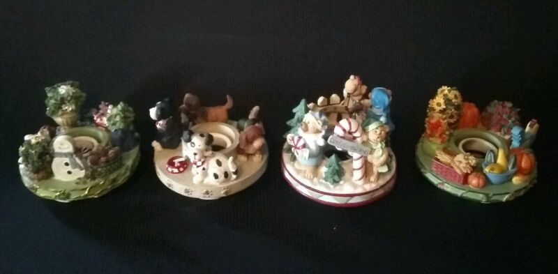 Lot Of 4 Candle Capper Winter  Fall  Dogs Cappers Candle Excellent condition #candles (ebay link)