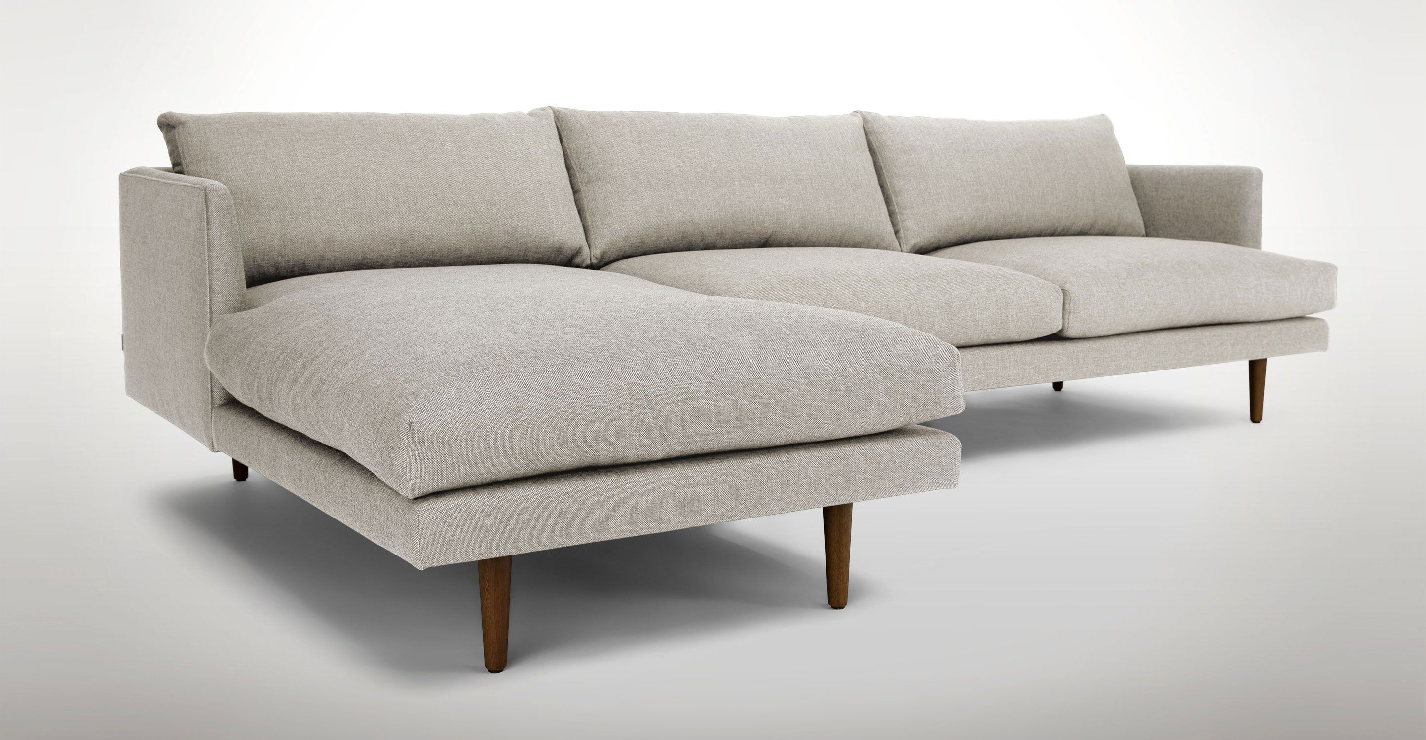 Light Gray Left Sectional Sofa Upholstered