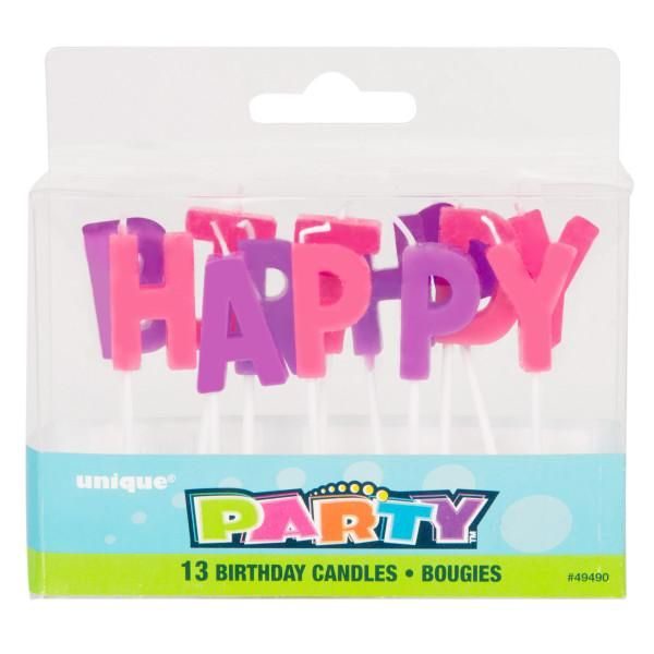 HAPPY BIRTHDAY CANDLES LETTER SET 13 LETTERS