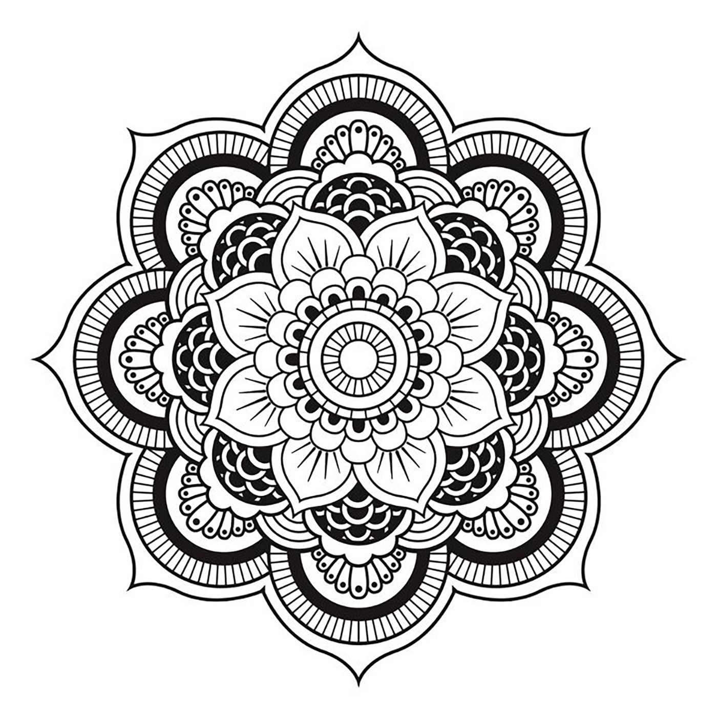 Unique mandala coloring pages - Simple Mandala Forming A Unique Flowerfrom The Gallery Mandalas