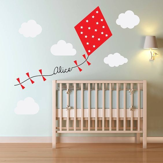 This colourful and unique personalised kite and clouds wall sticker is a must for childrens rooms and nurseries