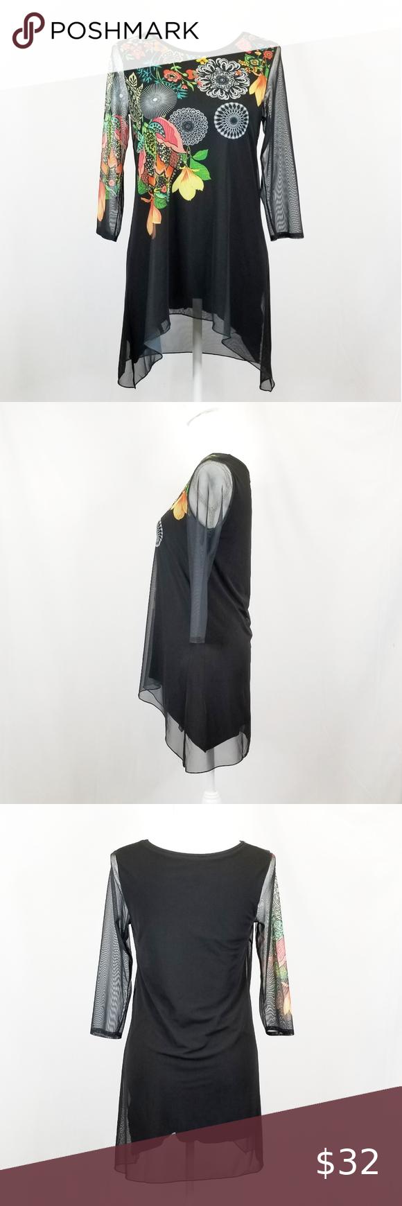 Desigual Black Tunic with Sheer Overlay