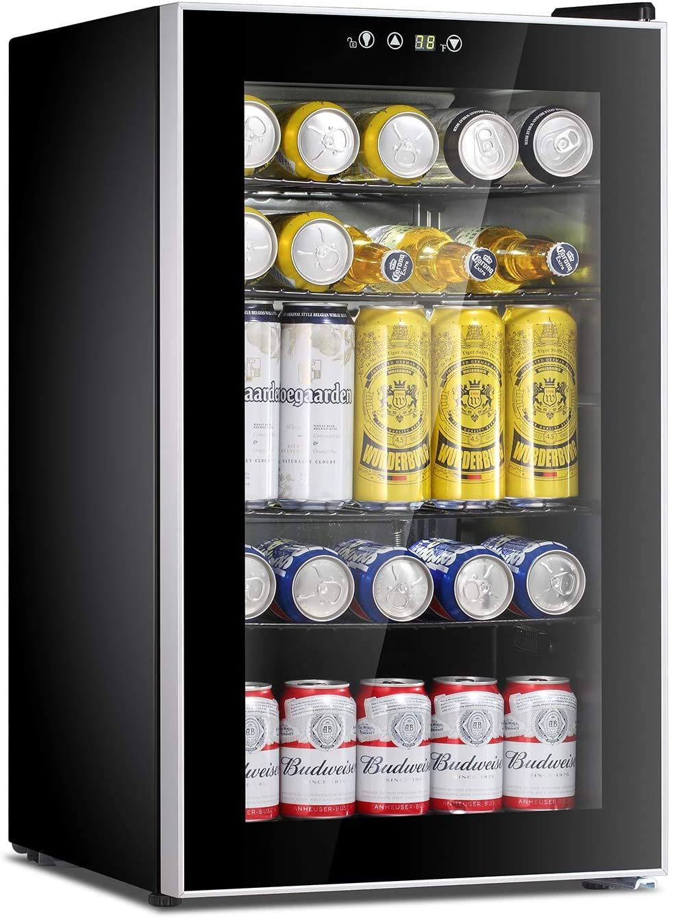 Antarctic Star Beverage Refrigerator Cooler 85 Can Mini Fridge Glass Door For Soda Beer Wine Stainle In 2020 Refrigerator Cooler Beverage Refrigerator Mini Fridge