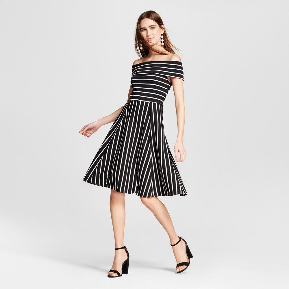 f736454838fe Women s Knit Off the Shoulder Dress Black   White Stripe XS - Mossimo