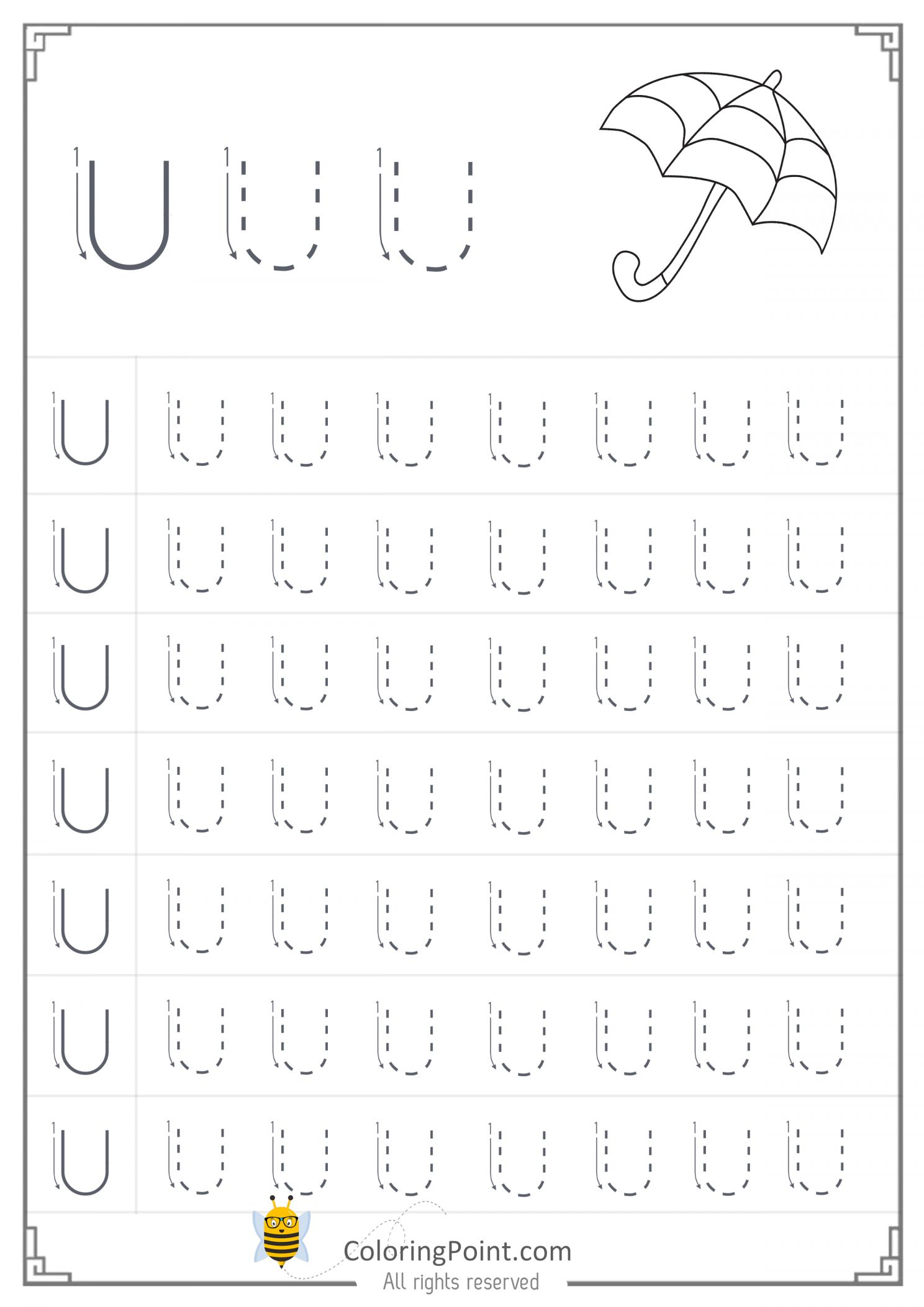 Letter U Worksheet Preschool And Free Printable Tracing