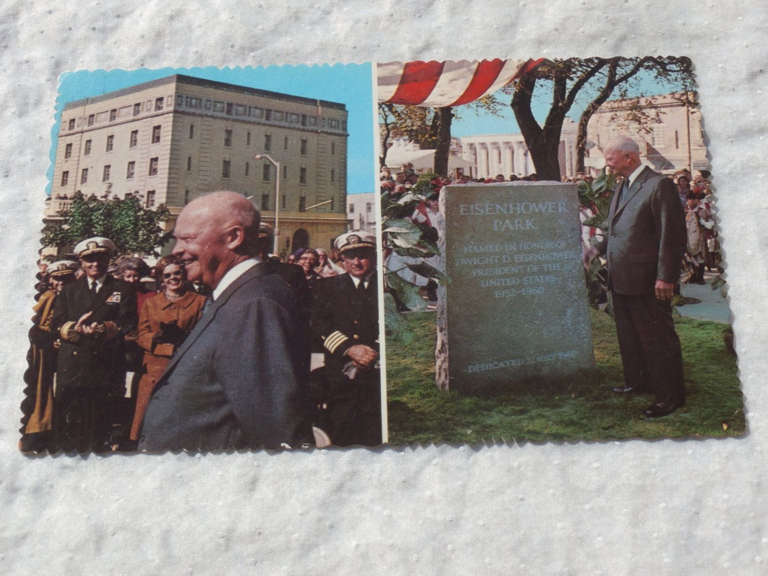 Dwight D. Eisenhower Postcard, Dedication of Park Newport, R.I., Ike, 34th US President Post Card, Vintage  1960s era.