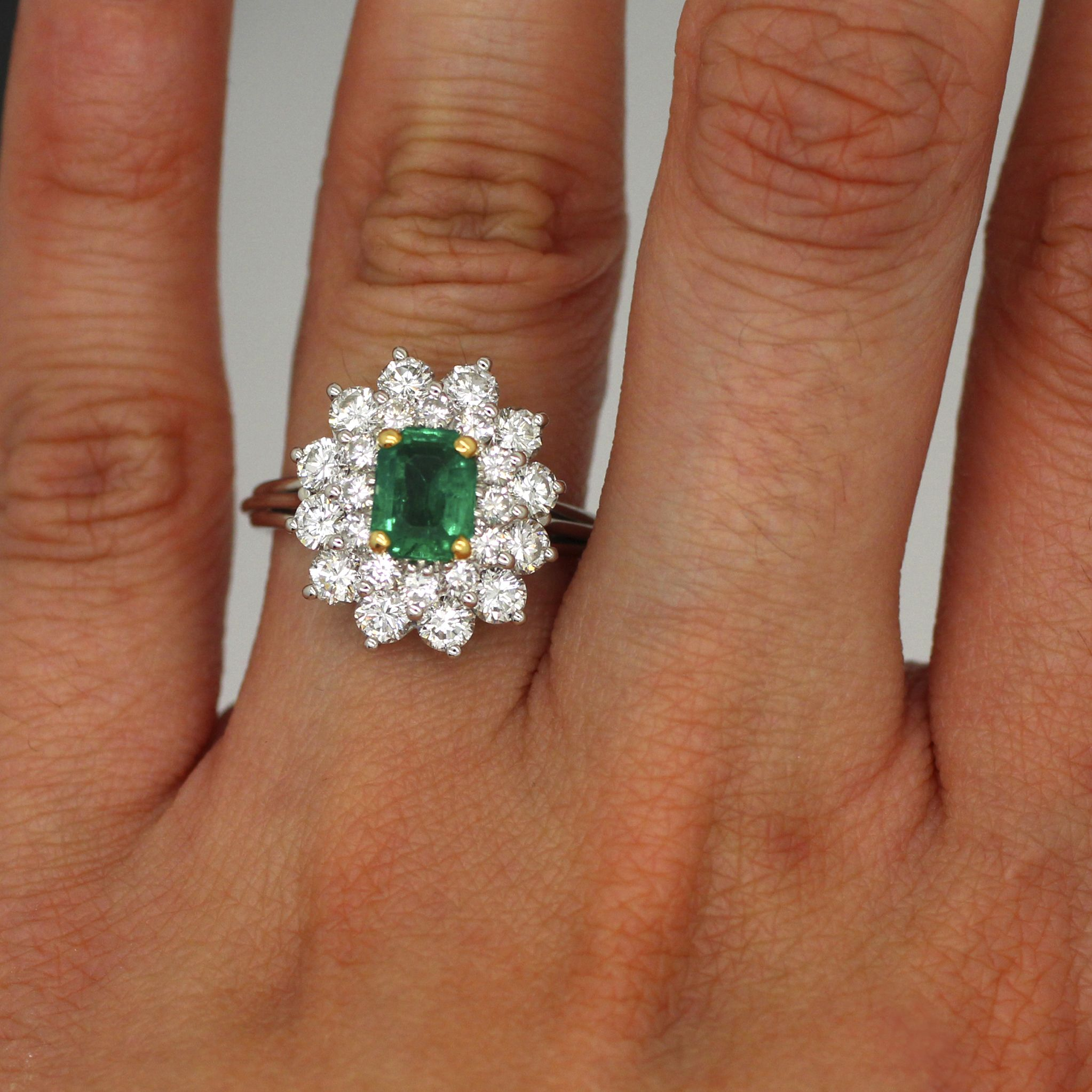Platinum 900 3 00ctw Colombian Emerald Diamond Double Halo