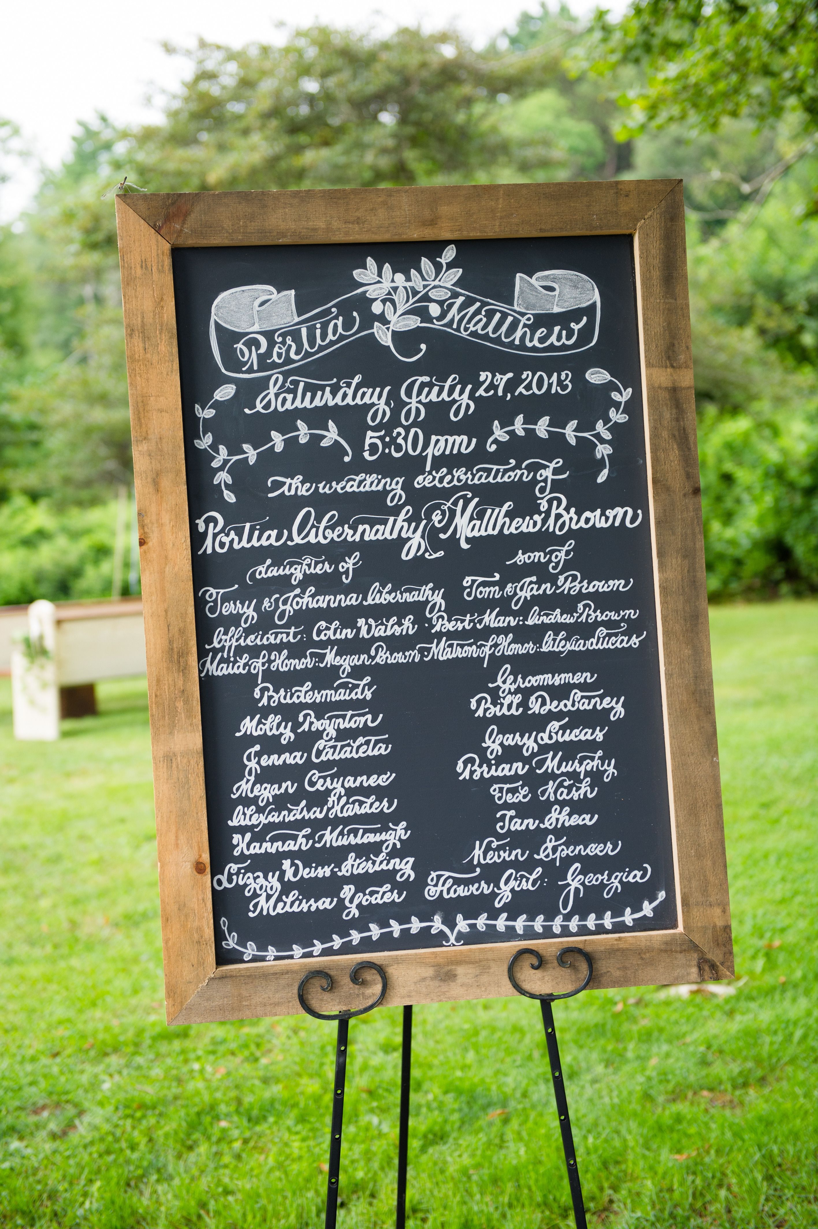 Framed Chalkboard Program... Forego the written program. Nice momento of the day. See more of the wedding here: http://www.StyleMePretty.com/2014/05/16/new-england-rustic-wedding/ Photography: GrazierPhotography.com