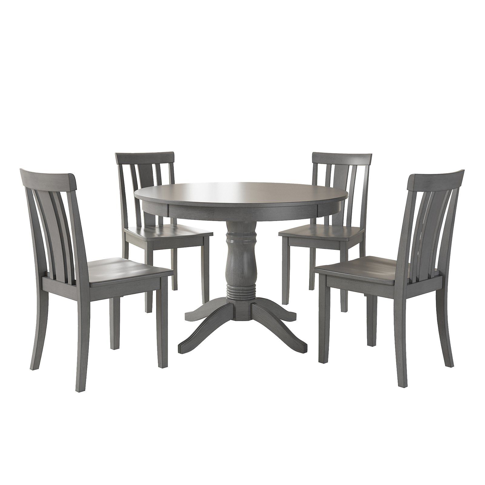Weston Home Lexington 5 Piece Round Dining Table Set With Slat