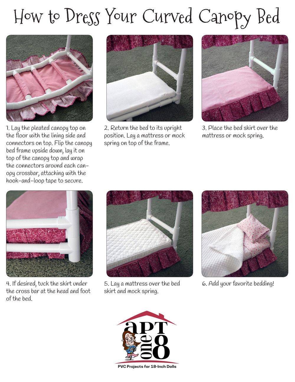 curved canopy bed on suite dreams collection curved canopy bed pvc pattern for 18 inch dolls dolls 18 inch doll accessories 18 inch doll curved canopy bed pvc pattern for 18