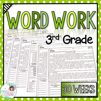 This Packet Includes 30 Weeks Of Word Work For 3rd Graders Word Families Are Introduced In Short Stories Word Work Third Grade Word Work Activities Word Work