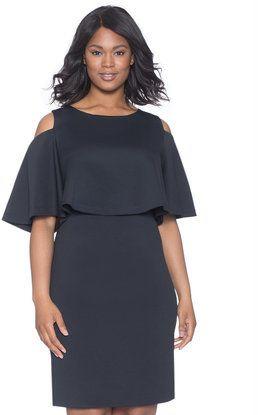 ELOQUII - Plus Size Cold Shoulder Flounce Sleeve Dress ...