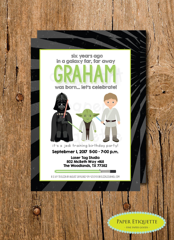 Star Wars Birthday Invite Laser Tag Party Darth Vader InvitationPaint