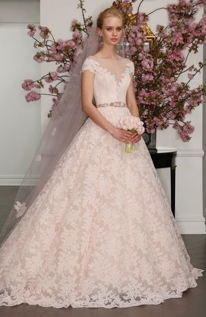 V-Neck Princess/Ball Gown Wedding Dress  with Natural Waist in Lace. Bridal Gown Style Number:33462334