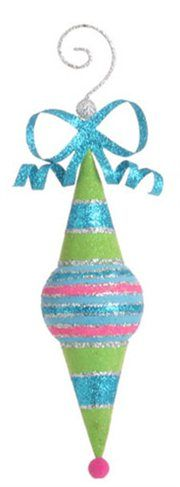 Candy Fantasy Whimsical Striped Flocked/Glittered Finial Christmas Ornament