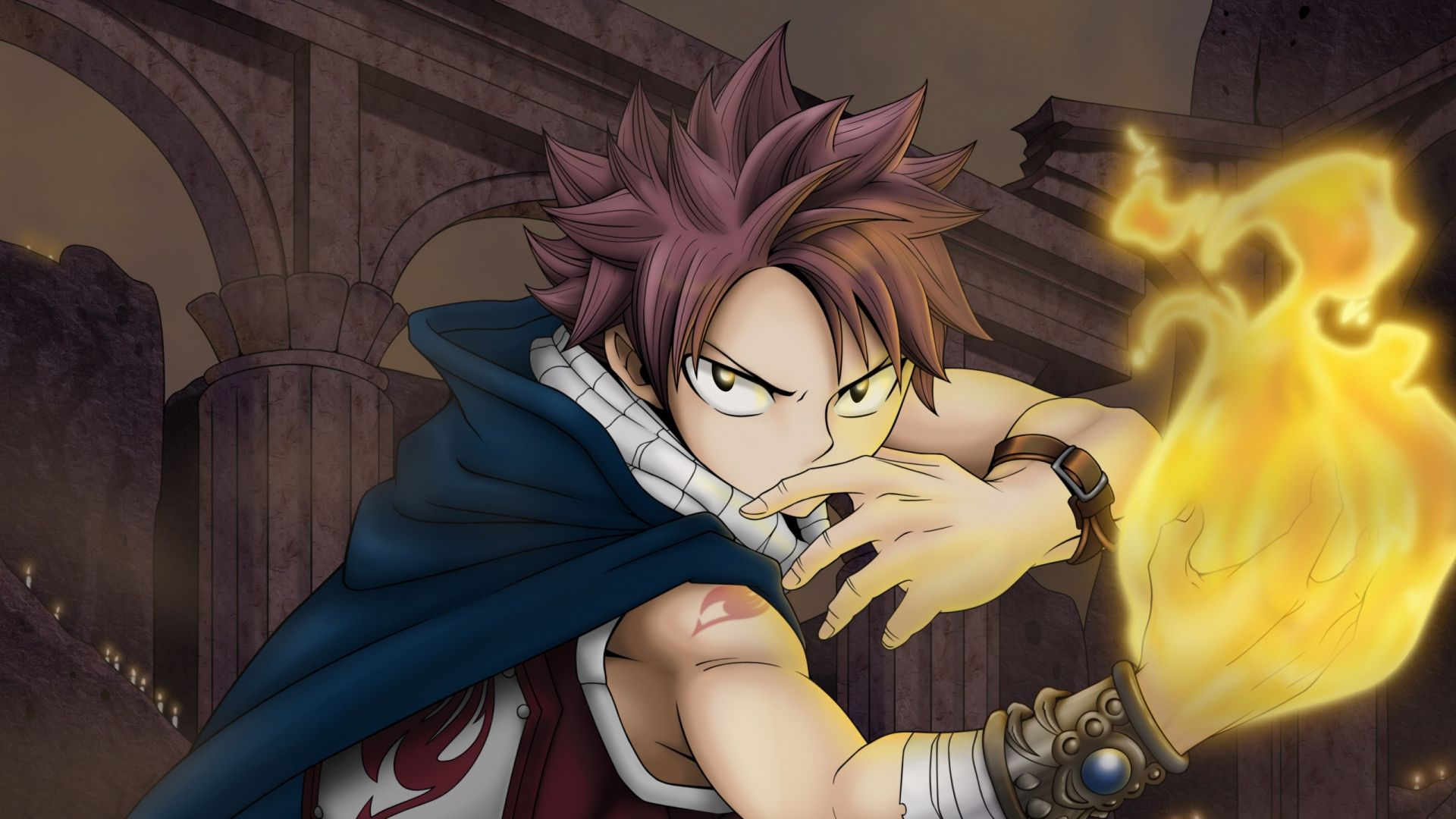 1920x1080 Wallpaper fairy tail, man, fire, hand, look