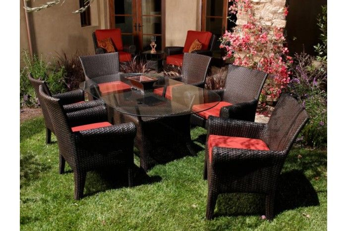 Santa Barbara Outdoor Luxury Dining Table Set   Sunset West Outdoor  Furniture
